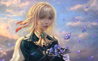 Violet Evergarden, butterflies, manga, anime characters