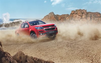 Chevrolet Colorado, 2018, 4k, red pickup truck, desert, new red Colorado, American cars, exterior, front view, Chevrolet