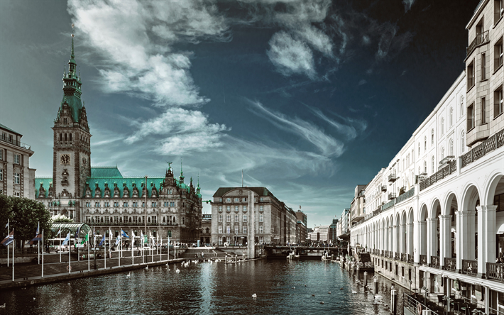 Download Wallpapers Hamburg 4k Old Architecture River