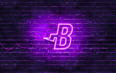 Burstcoin violett logotyp, 4k, violett brickwall, Burstcoin logotyp, cryptocurrency, Burstcoin neon logotyp, cryptocurrency tecken, Burstcoin