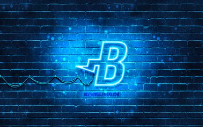 Burstcoin blå logo, 4k, blå brickwall, Burstcoin logotyp, cryptocurrency, Burstcoin neon logotyp, cryptocurrency tecken, Burstcoin