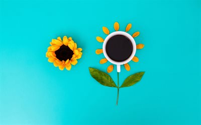 Good Morning, creative sunflowers, minimal, coffee concept, floral art, cup with coffee, Good Morning concepts