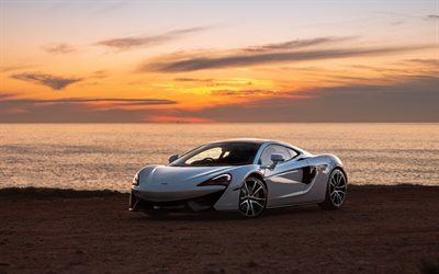 Mclaren 570GT, 2020, hypercar, front view, sunset, evening, new white 570GT, British sports cars, Mclaren