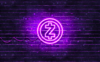 Zcash紫ロゴ, 4k, 紫brickwall, Zcashロゴ, cryptocurrency, Zcashネオンのロゴ, cryptocurrency看板, Zcash