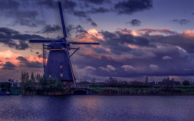 mill, evening, sunset, river, beautiful sunset, Netherlands