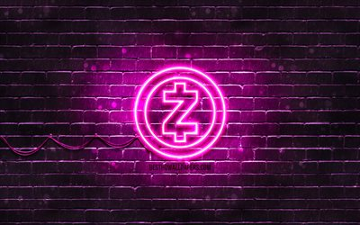 Zcash紫色のロゴ, 4k, 紫brickwall, Zcashロゴ, cryptocurrency, Zcashネオンのロゴ, cryptocurrency看板, Zcash
