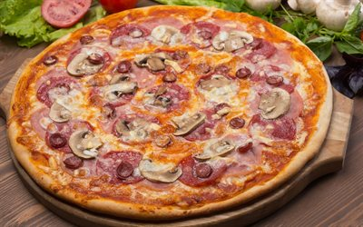 Pizza with mushrooms, fast food, pizza, delicious food, pizza with sausage and mushrooms