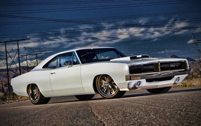 Dodge Charger, low rider, 1969 carros, muscle cars, 1969 Dodge Charger, retro carros, os carros americanos, Dodge