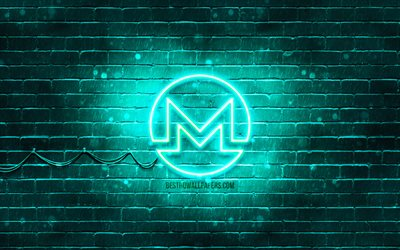 Monero turkos logo, 4k, turkos brickwall, Monero logotyp, cryptocurrency, Peercoin neon logotyp, cryptocurrency tecken, Monero