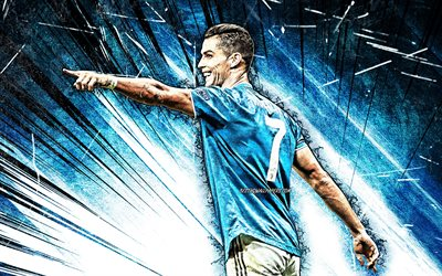 4k, Cristiano Ronaldo, blue abstract rays, Juventus FC, blue uniform, CR7, Italy, CR7 Juve, portuguese footballers, grunge art, football stars, Serie A, Cristiano Ronaldo 4K, Bianconeri, soccer