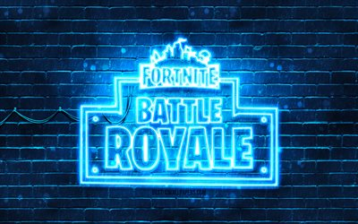 Fortnite Battle Royale blue logo, 4k, blue brickwall, Fortnite Battle Royale logo, online games, Fortnite Battle Royale neon logo, Fortnite Battle Royale