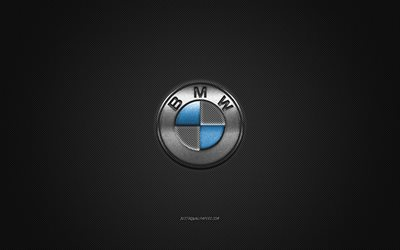 BMW logo, silver logo, gray carbon fiber background, BMW metal emblem, BMW, cars brands, creative art