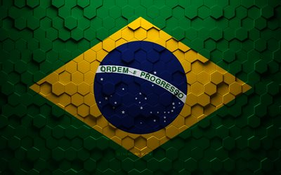 Flag of Brazil, honeycomb art, Brazil hexagons flag, Brazil, 3d hexagons art, Brazil flag