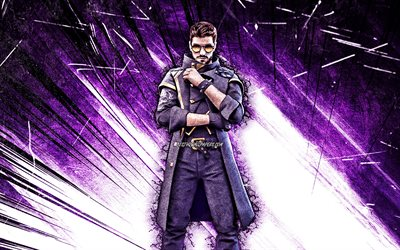 4k, Dj Alok, grunge art, Free Fire Battlegrounds, Alok, Garena Free Fire characters, violet abstract rays, Garena Free Fire, Dj Alok Free Fire