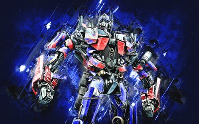 Optimus Prime, Transformers, Autobot, Optimus Prime Transformer, blue stone background, grunge art, Optimus Prime Autobot, Transformers characters, Optimus Prime character, Peterbilt 379 Transformer