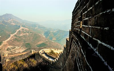 Great Wall of China, spring, mountain landscape, stone wall, 7 wonders of the world, China
