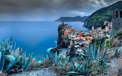 Vernazza, Cinque Terre, evening, sunset, Ligurian coast, Mediterranean Sea, Vernazza cityscape, mountain landscape, Italia