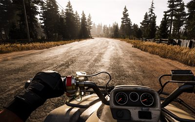 Far Cry 5, 2017, motorcycle riding, game world, sunset, road
