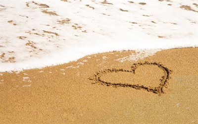heart in the sand, beach, sea, sand, sea breeze, love concepts, travel