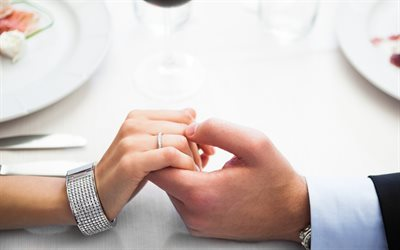 engagement ring, loving couple, marriage offer, hands, restaurant, couple