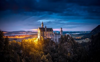 Neuschwanstein, beautiful old castle, evening, lights, Bavaria, Germany, romantic places
