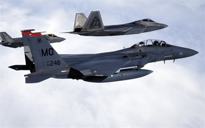 mcdonnell douglas f-15 eagle, lockheed martin f-22 raptor, f-15, strike eagle, us air force, lockheed martin f-35 lightning ii, american combat aviation, usa