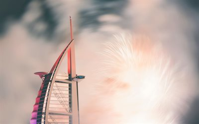 4k, Burj Al Arab, artwork, Dubai, UAE, United Arab Emirates