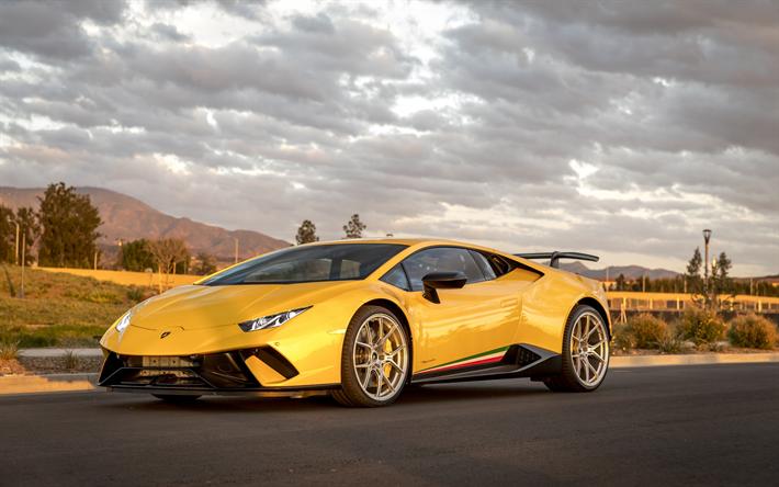 Herunterladen Hintergrundbild Lamborghini Huracan 2018 Lb724 Gelb Sport Coup 233 Sportwagen