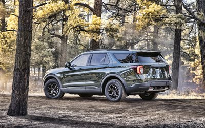 2021, Ford Explorer Timberline, 4k, rear view, exterior, new green Explorer Timberline, American cars, Ford