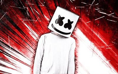 4k, DJ Marshmello, grunge art, Christopher Comstock, creative, american DJ, red abstract rays, Marshmello 4K, red abstract backgrounds, superstars, Marshmello, DJs