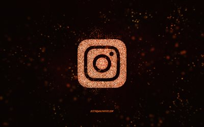 Instagram glitter logo, black background, Instagram logo, orange glitter art, Instagram, creative art, Instagram orange glitter logo