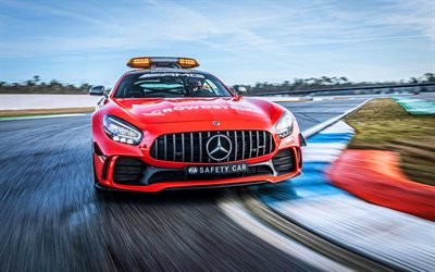 Mercedes-AMG GT R, raceway, FIA F1 Safety Car, 2021 cars, motion blur, C190, HDR, 2021 Mercedes-AMG GT R, german cars, Mercedes