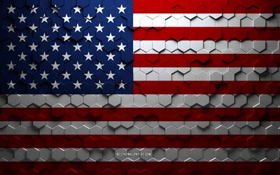 Flag of USA, honeycomb art, USA hexagons flag, USA, 3d hexagons art, USA flag, American flag
