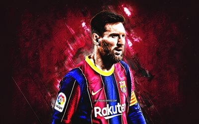 Lionel Messi, portrait, FC Barcelona, Leo Messi, burgundy stone background, Messi art, Argentine footballer, Spain, football