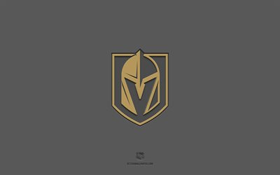 Vegas Golden Knights, gray background, American hockey team, Vegas Golden Knights emblem, NHL, USA, hockey, Vegas Golden Knights logo