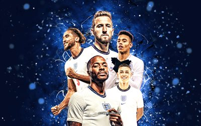 Harry Kane, Raheem Sterling, Phil Foden, Mason Greenwood, Dominic Calvert-Lewin, 4k, England national football team, soccer, footballers, blue neon lights, English football team