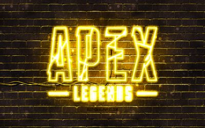 Apex Legends yellow emblem, 4k, yellow brickwall, Apex Legends emblem, games brands, Apex Legends neon emblem, Apex Legends