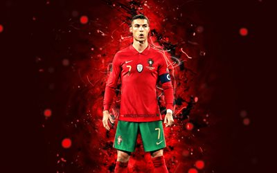 Cristiano Ronaldo, 4k, Portugal National Team, football stars, soccer, footballers, Cristiano Ronaldo dos Santos Aveiro, 2021, red neon lights, Portuguese football team, CR7, Cristiano Ronaldo 4K