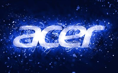 Acer dark blue logo, 4k, dark blue neon lights, creative, dark blue abstract background, Acer logo, brands, Acer