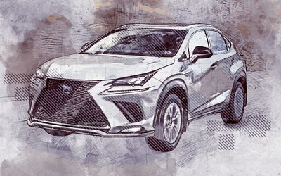 2020, Lexus NX, grunge art, creative art, painted Lexus NX, drawing, Lexus NX grunge, digital art, Lexus grunge