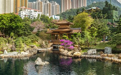 Hong Kong, pagoda, garden, lake, bushes, trees, modern buildings, Hong Kong cityscape, China