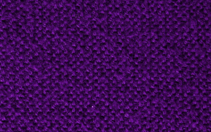 violet knitted textures, macro, wool textures, violet knitted backgrounds, close-up, violet backgrounds, knitted textures, fabric textures
