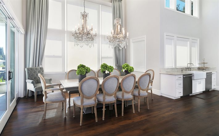 dining room, classic light interior design, stylish interior, kitchen, classic kitchen white furniture, large dining table