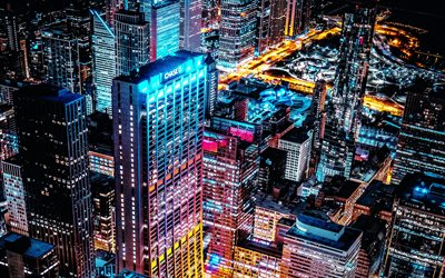 Chicago, 4k, modern buildings, nightscapes, american cities, Illinois, America, Chicago at morning, USA, City of Chicago, Cities of Illinois, Chicago at night