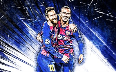 Antoine Griezmann, Lionel Messi, grunge art, Barcelona FC, football stars, FCB, Messi and Griezmann, Leo Messi, La Liga, footballers, LaLiga, blue abstract rays, Barca, soccer, Griezmann, Messi