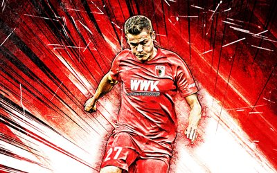 4K, Alfred Finnbogason, grunge art, FC Augsburg, german footballers, Germany, soccer, Werner, Bundesliga, football, Augsburg FC, red abstract rays, Alfred Finnbogason Augsburg