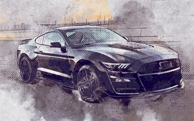 ford mustang, 2020, shelby gt500, grunge, kunst, mustang grunge, lackierte ford mustang, shelby gt500 grunge