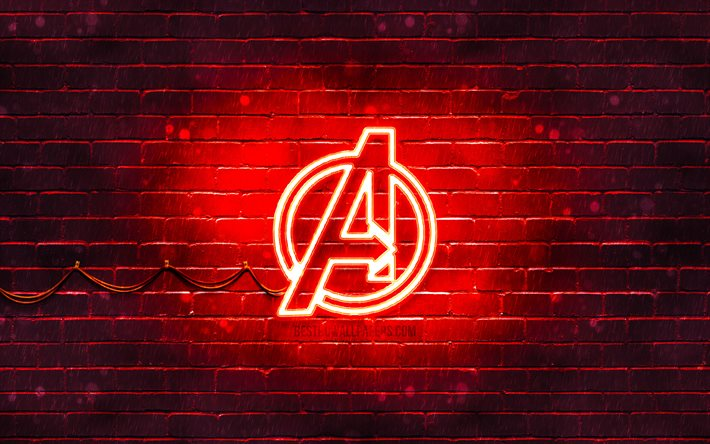 Download Wallpapers Avengers Red Logo 4k Red Brickwall Avengers Logo Superheroes Avengers Neon Logo Avengers For Desktop Free Pictures For Desktop Free