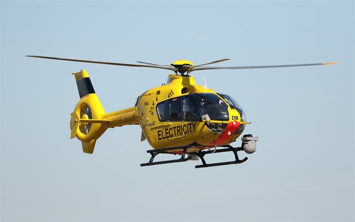 Eurocopter EC135, light helicopter, yellow helicopter, EC135 G-WPDB, Airbus Helicopters