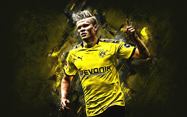 Download Wallpapers Erling Braut Haland Borussia Dortmund Bvb Norwegian Soccer Player Portrait Yellow Stone Background Bundesliga Germany Football For Desktop Free Pictures For Desktop Free